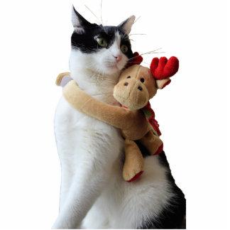Recorte del ornamento del juguete del gato blanco adorno fotoescultura