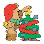 recorte del oso de peluche del árbol de navidad escultura fotográfica