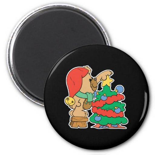 recorte del oso de peluche del árbol de navidad iman de frigorífico