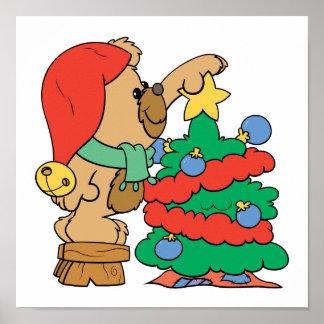 recorte del oso de peluche del árbol de navidad póster