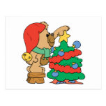 recorte del oso de peluche del árbol de navidad postales