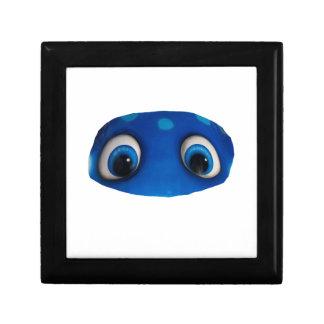 Recorte feliz del azul de los ojos caja de joyas
