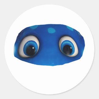 Recorte feliz del azul de los ojos etiquetas