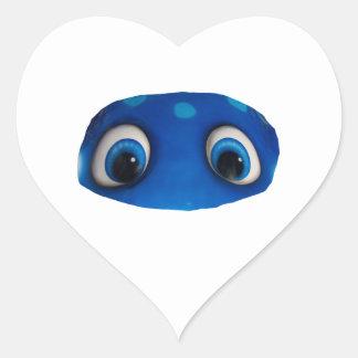 Recorte feliz del azul de los ojos pegatina corazon