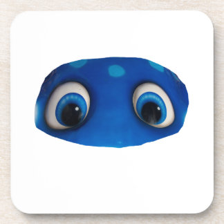 Recorte feliz del azul de los ojos posavaso