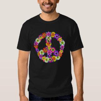 Recorte floral del signo de la paz remeras