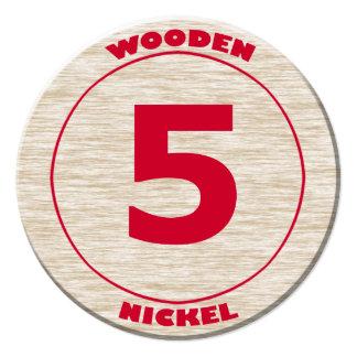 """Recorte redondo del níquel de madera invitación 5.25"""" x 5.25"""""""