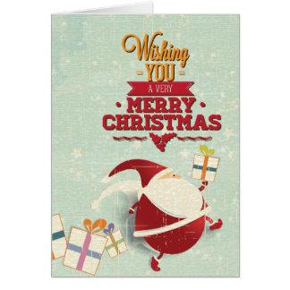 Recorte retro de Papá Noel con los presentes Felicitación