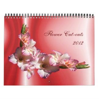 Recortes 2012 de la flor calendario de pared