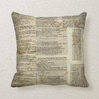 Recortes antiguos del papel de la poesía cojines
