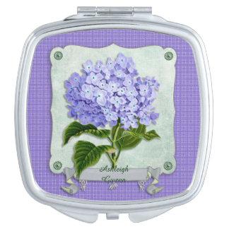 Recortes púrpuras del cuadrado de la cinta del espejos de maquillaje
