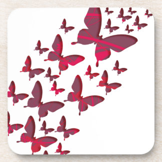 Recortes rojos de la mariposa posavasos de bebidas