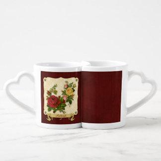 Recortes rojos elegantes del vintage del damasco d tazas para parejas
