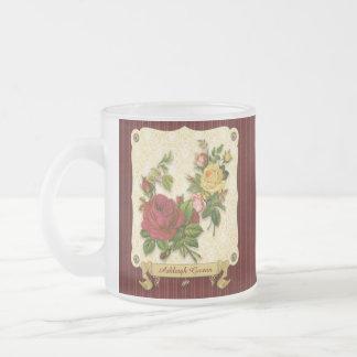 Recortes rojos elegantes del vintage del damasco d taza de café