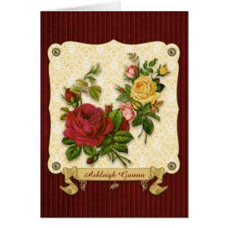 Recortes rojos elegantes del vintage del damasco tarjeta de felicitación