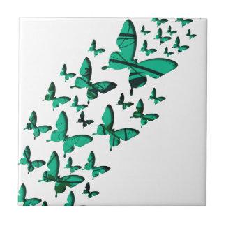 Recortes verdes de la mariposa azulejo cerámica