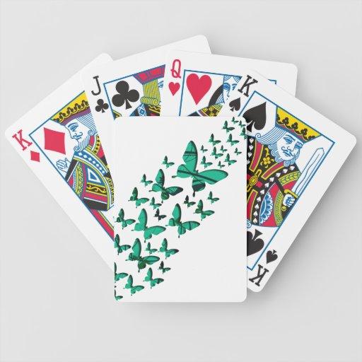 Recortes verdes de la mariposa baraja cartas de poker