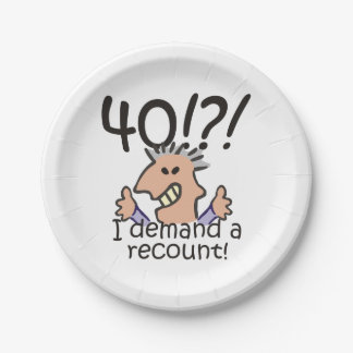 Recount 40th Birthday Paper Plate