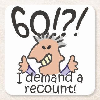 Recount 60th Birthday Square Paper Coaster