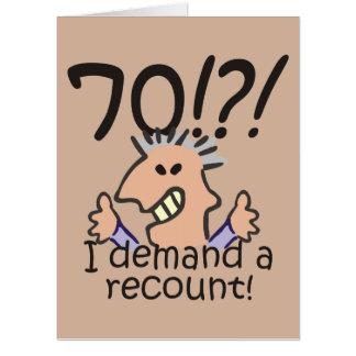 Recount 70th Birthday Card