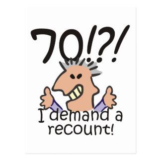 Recount 70th Birthday Postcard