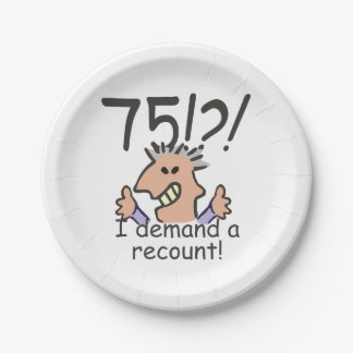 Recount 75th Birthday Paper Plate