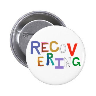 Recovering healing new beginning funky word art 2 inch round button