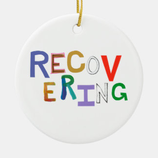Recovering healing new beginning funky word art Double-Sided ceramic round christmas ornament