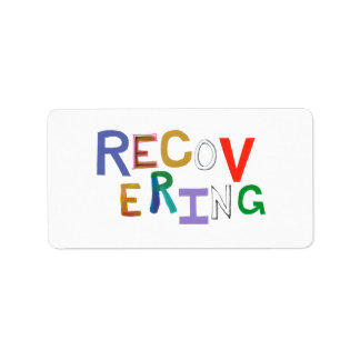 Recovering healing new beginning funky word art label