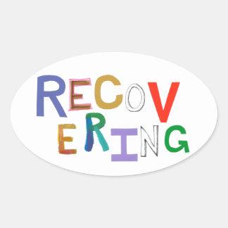 Recovering healing new beginning funky word art oval sticker