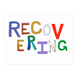 Recovering healing new beginning funky word art postcard