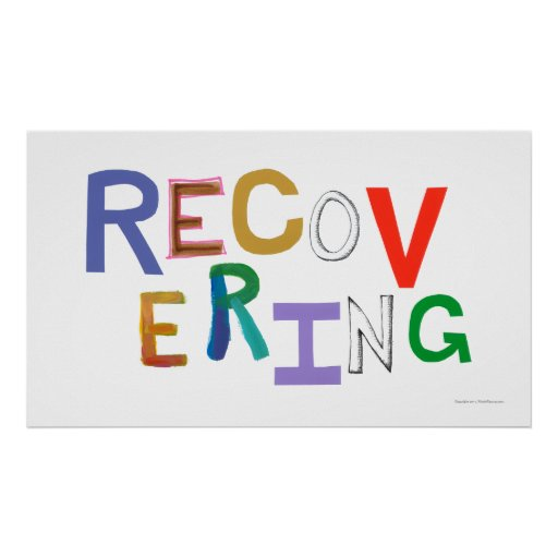 Recovering healing new beginning funky word art poster