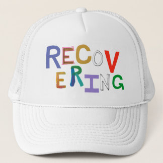 Recovering healing new beginning funky word art trucker hat