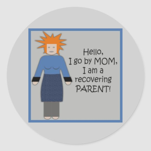 Recovering Mom Blue Classic Round Sticker