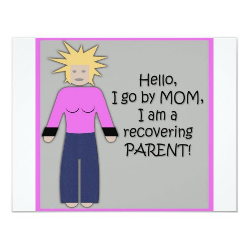 Recovering Mom Pink 4.25x5.5 Paper Invitation Card