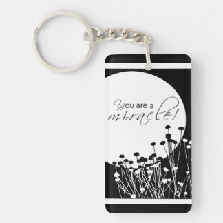 Recovery Miracle, Black and White Double-Sided Rectangular Acrylic Keychain