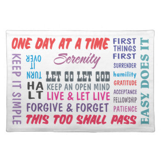 recovery slogans cloth placemat