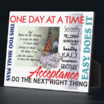 "recovery slogans plaque<br><div class=""desc"">Slogans are an incredible tool in 12 step recovery.  This product helps to remind us on a daily basis to just breath... one day at a time... </div>"
