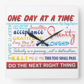 recovery slogans square wall clock