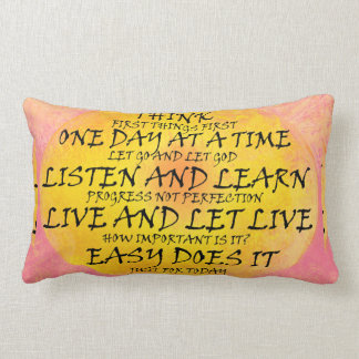 Recovery Slogans Yellow Pink Lumbar Pillow