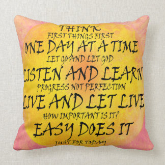 Recovery Slogans Yellow Pink Throw Pillow