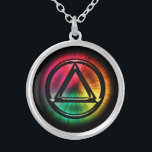 """Recovery Sobriety Sober Necklace Pendant<br><div class=""""desc"""">RECOVERY SOBRIETY SOBER NECKLACE PENDANT - The Circle and Triangle Symbol is used in many Recovery, Sobriety and/or 12-Step Groups NA: Narcotics OA: Over-Eaters GA: Gamblers etc.). Display your sentiments embodied by this symbol or offer it as a gift to someone you care about who does or not, you can...</div>"""