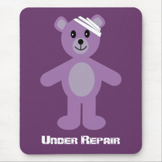 Recovery Teddy Bear Under Repair Purple Mouse Pad