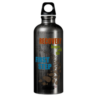 Recovery, the First Step (12 step, drug free) Aluminum Water Bottle