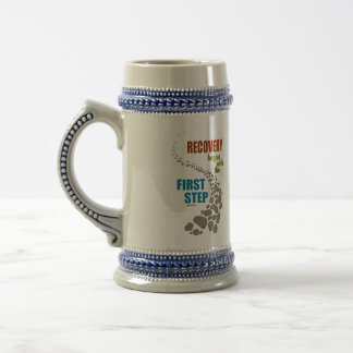 Recovery, the First Step (12 step, drug free) Beer Stein