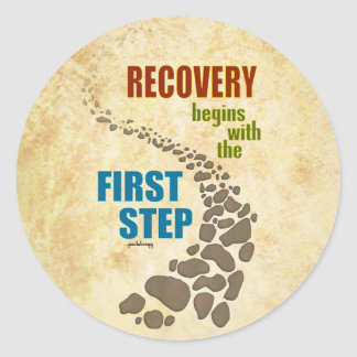 Recovery, the First Step (12 step, drug free) Classic Round Sticker