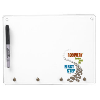 Recovery, the First Step (12 step, drug free) Dry Erase Board With Keychain Holder