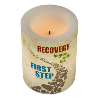 Recovery, the First Step (12 step, drug free) Flameless Candle