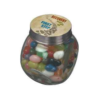 Recovery, the First Step (12 step, drug free) Glass Candy Jar