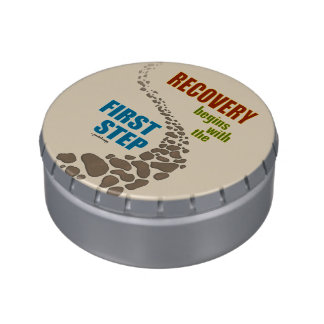 Recovery, the First Step (12 step, drug free) Jelly Belly Candy Tins